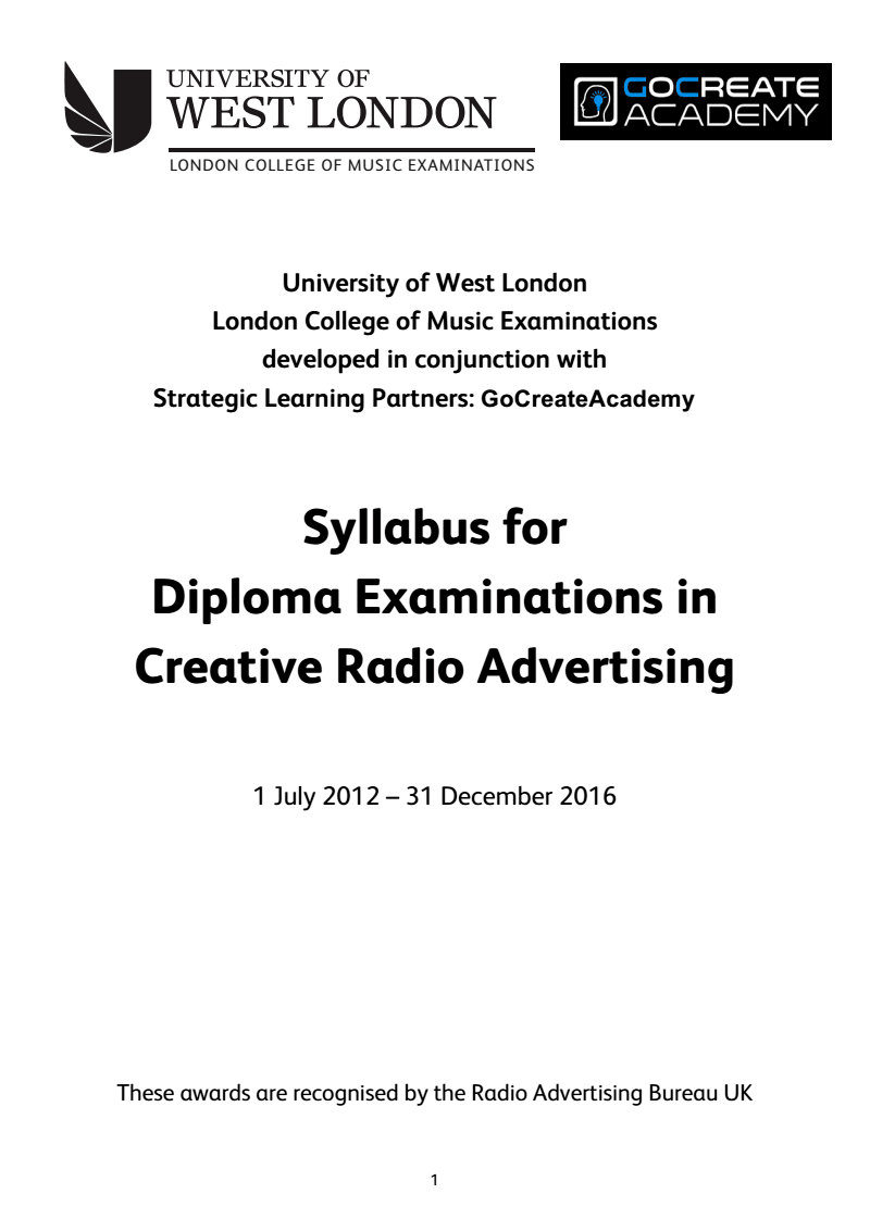 Cover of the syllabus